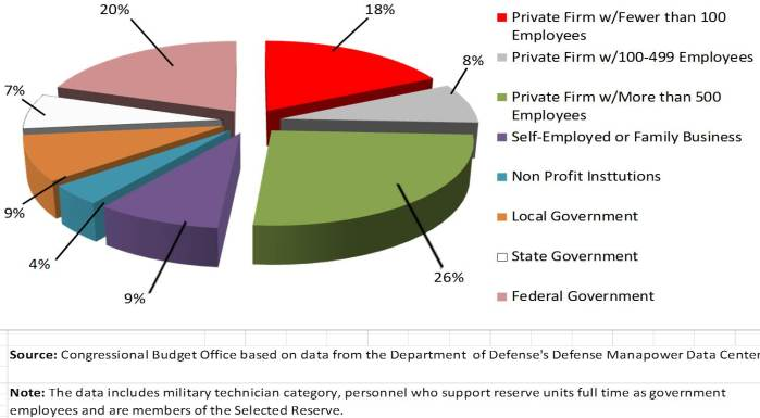 90 percent of the Guard and Reserve are part-time. Nearly a quarter work for small business with 500 or fewer employees, and companies with more than 500 employees employ an additional 25% of all reservists.