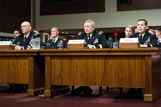 Army Chief of Staff Gen. Ray Odierno, left, Army Gen. Frank J. Grass, middle, chief of the National Guard Bureau, and Army Lt. Gen. Jeffrey W. Talley, commanding general of the Army Reserve Command, testify on the Army's force mix before the Senate Armed Services Committee in Washington, D.C., April 8, 2014.
