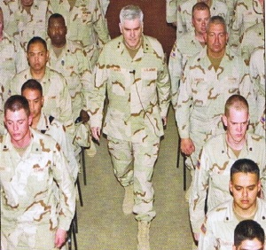Commanding Presence. Maj. Gen. Thomas Eres, California National Guard adjutant general in 2004, was a driving force behind post-911 Cal Guard restructuring, apparently alienating some Headquarters officers, but who appeared to me has being connected to the troops. (SSG Robert Scott, Grizzly Magazine 2004.)
