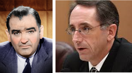 "McCarthy Comparisons. Was the U.S. Senator Joseph McCarthy's (Left) ""Red Scare"" of the 1950s comparable to California State Senator Joe Dunn's (Right) ""Spy Scare"" in 2005? A U.S. Army lawyer stopped McCarthy's fear-mongering in its tracks with the question, ""Have you no decency Sir?"" Dunn dismissed Army Investigator Reports concluding the California National Guard neither spied on U.S. citizens nor infiltrated Code Red. Although Dunn's senate investigation convicted innocent Guardsmen of spying in the court of public opinion, Karma may have intervened to impose justice in Dunn's case when the California State Bar fired him as its executive director on allegations of ethic violations and filing fraudulent travel expenses. (FLICKR Photos)"
