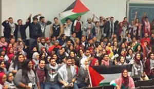 """Anti-Israel activists who shout down Jewish students with chants of """"Allahhu Akbar"""" at the UC Davis Campus in January 2015. (FLICKR Photo)"""