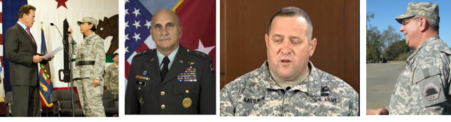 """The Philosophical Divde. Maj. Gen. William Wade's (Left) and Brig. Gen. Mary Kight's (second from left) military transformation and military justice philosophies' differed from that of then Col. David S. Baldwin's (second from right) and State Investigator General Lt. Col. (CA) Joseph Righello's (right). Wade's and Knight's judicial management style was reportedly more """"due process"""" oriented, while Baldwin's and Righello's was arguably more of a martinet-style of justice, some say even abusive. Wade and Kight nurtured military transformation as envisioned by DoD policy and directives, Baldwin and Righello arguably resisted it. (Flickr photos)."""