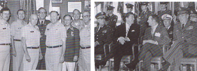 Left Photo: Headquarters-State Military Reserve newly activated in 1977 with mandate to establish the California Center for Military History (CCMH) Command for purpose of providing manpower to operate the California National Guard Citizen-Soldier Museum. COL (CA) Donald E. Mattson, first row, second from left, helped establish the CCMH and was its first commander. Right Photo: Gov. Ronald Reagan attends the State Military Reserve reactivation ceremony for the mission of supporting the California National Guard History Society. (File Photos)
