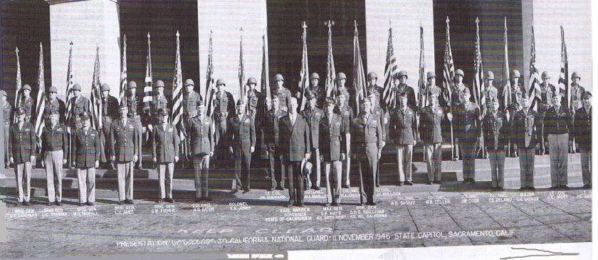 Presentation of Colors. Colors return to California, Nov. 11,1946, commemorating the return of the California National Guard from WWII. One of the 30,000 artifacts the State Military Department confiscated in 2014, now speculated, deteriorating in a Guard warehouse somewhere in California.
