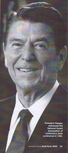 Col. Ernest Zuick revealed how the NGAC convinced President Ronald Reagan to speak at the 1984 National Guard Association of California Conference in 1984. For this NGAC generation, it was common for highly visible elected leaders to speak at its conferences. (Souvenir Edition, Gold Rush Magazine, 2002)