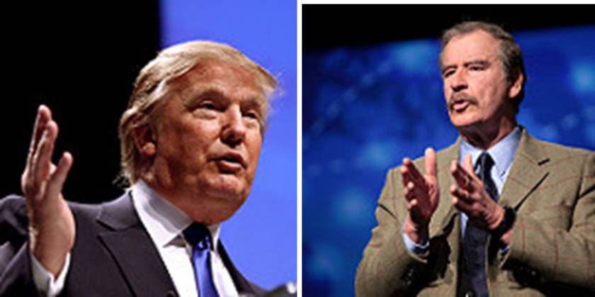 "Wall Diplomacy. Presumptive Republican Presidential Candidate Donald Trump (left) has already changed the diplomatic landscape with his ""Mexico will pay for the wall diplomacy"" former Mexican President Vincente Fox's (right) rants. (Photos by George Skidmore, FLICKr)"